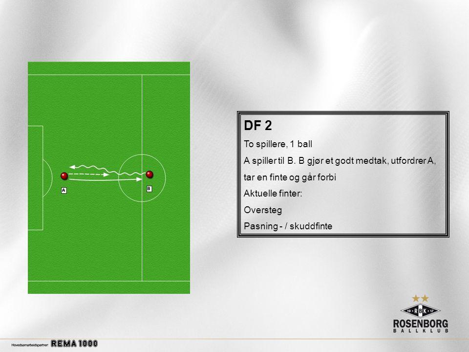 DF 2 To spillere, 1 ball. A spiller til B. B gjør et godt medtak, utfordrer A, tar en finte og går forbi.