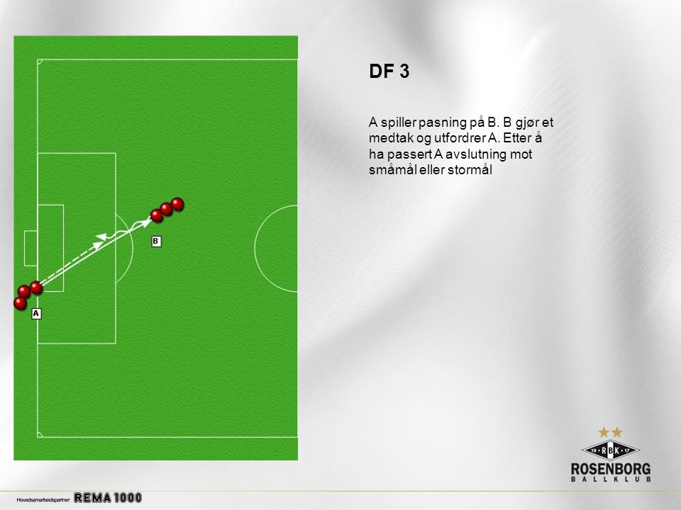 DF 3 A spiller pasning på B. B gjør et medtak og utfordrer A.