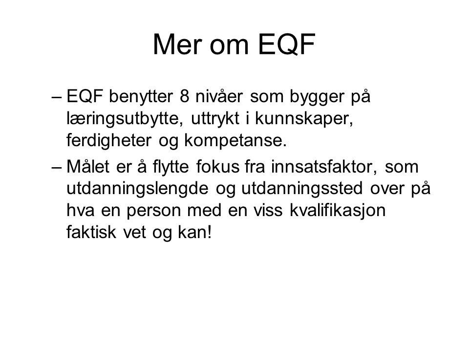 Mer om EQF EQF benytter 8 nivåer som bygger på læringsutbytte, uttrykt i kunnskaper, ferdigheter og kompetanse.