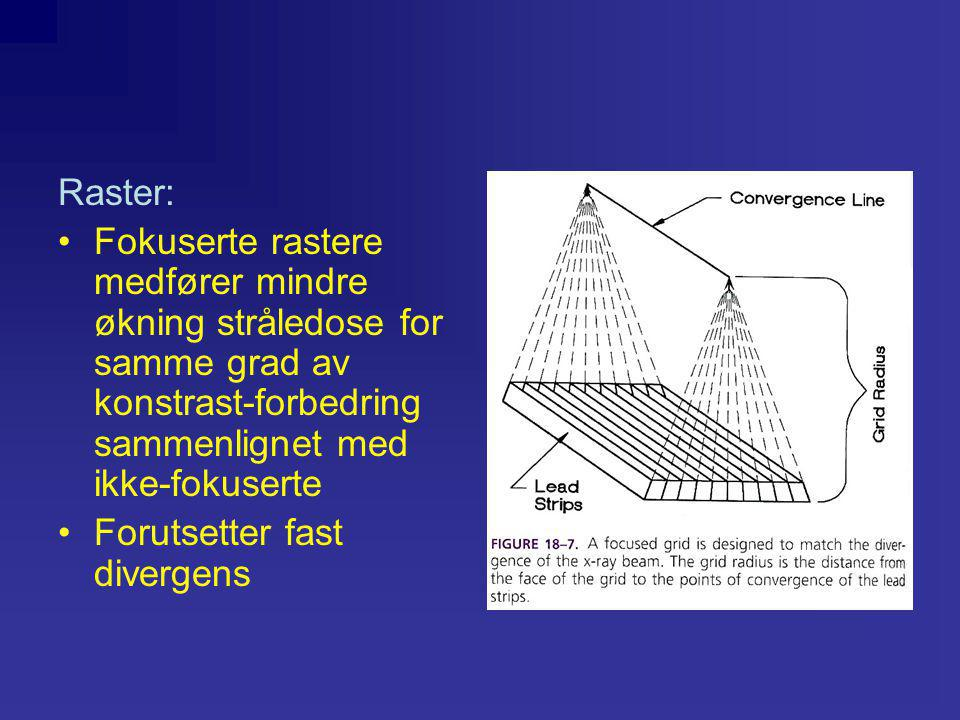 Raster: Fokuserte rastere medfører mindre økning stråledose for samme grad av konstrast-forbedring sammenlignet med ikke-fokuserte.