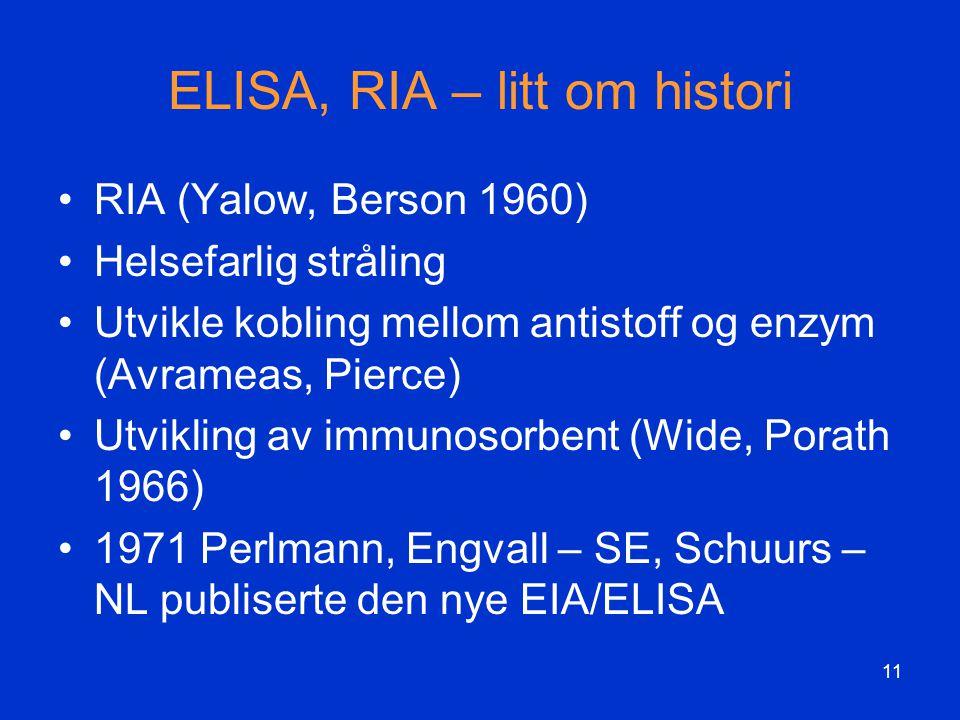 ELISA, RIA – litt om histori