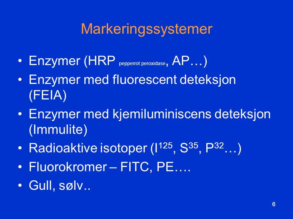 Markeringssystemer Enzymer (HRP pepperrot peroxidase, AP…)