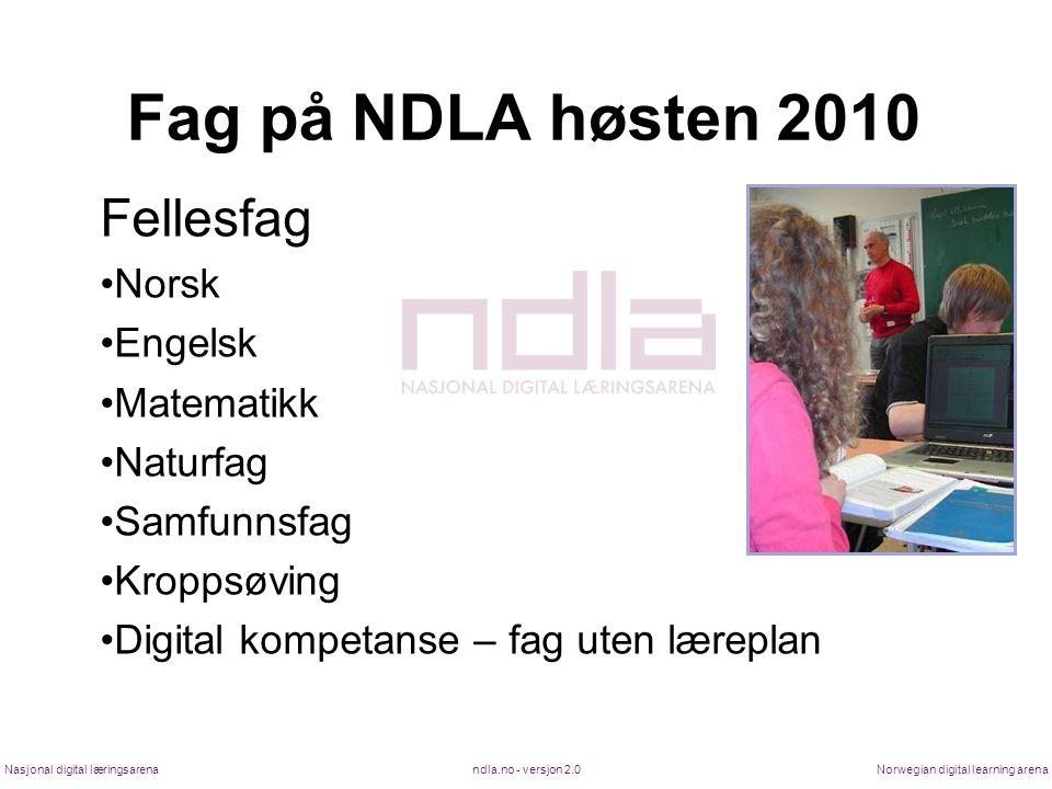 Fag på NDLA høsten 2010 Fellesfag Norsk Engelsk Matematikk Naturfag
