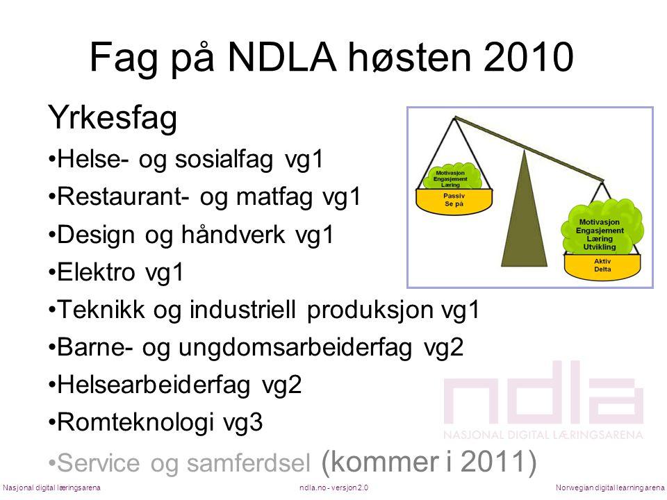 Fag på NDLA høsten 2010 Yrkesfag Helse- og sosialfag vg1