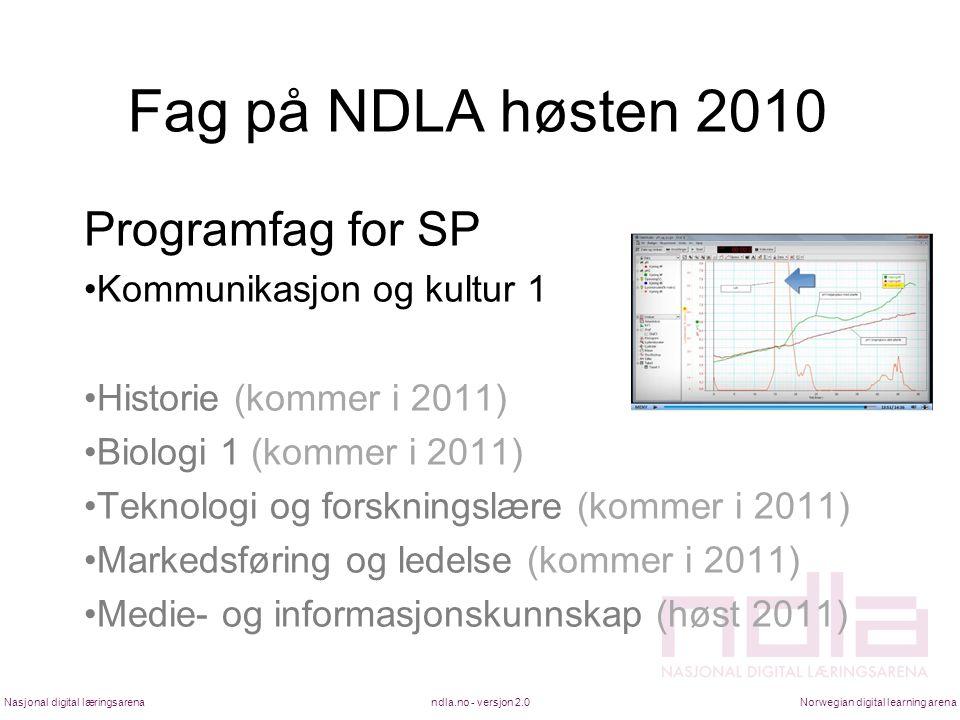Fag på NDLA høsten 2010 Programfag for SP Kommunikasjon og kultur 1