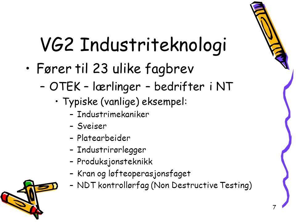 VG2 Industriteknologi Fører til 23 ulike fagbrev