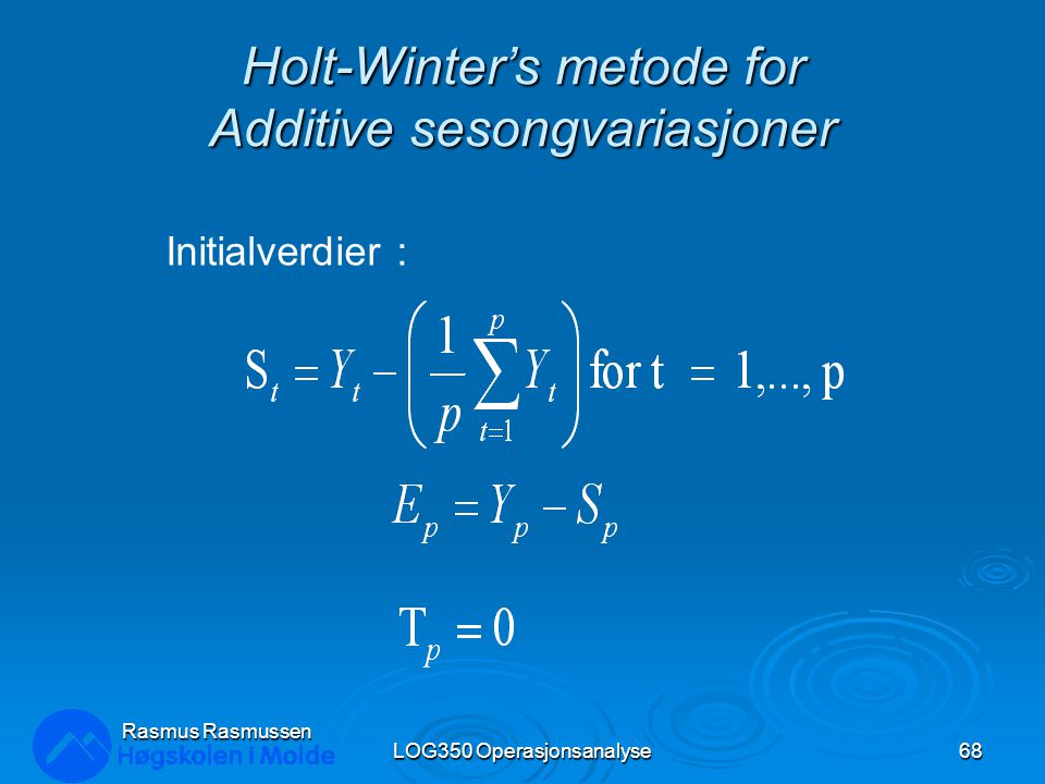 Holt-Winter's metode for Additive sesongvariasjoner
