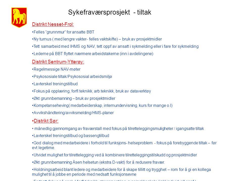 Sykefraværsprosjekt - tiltak