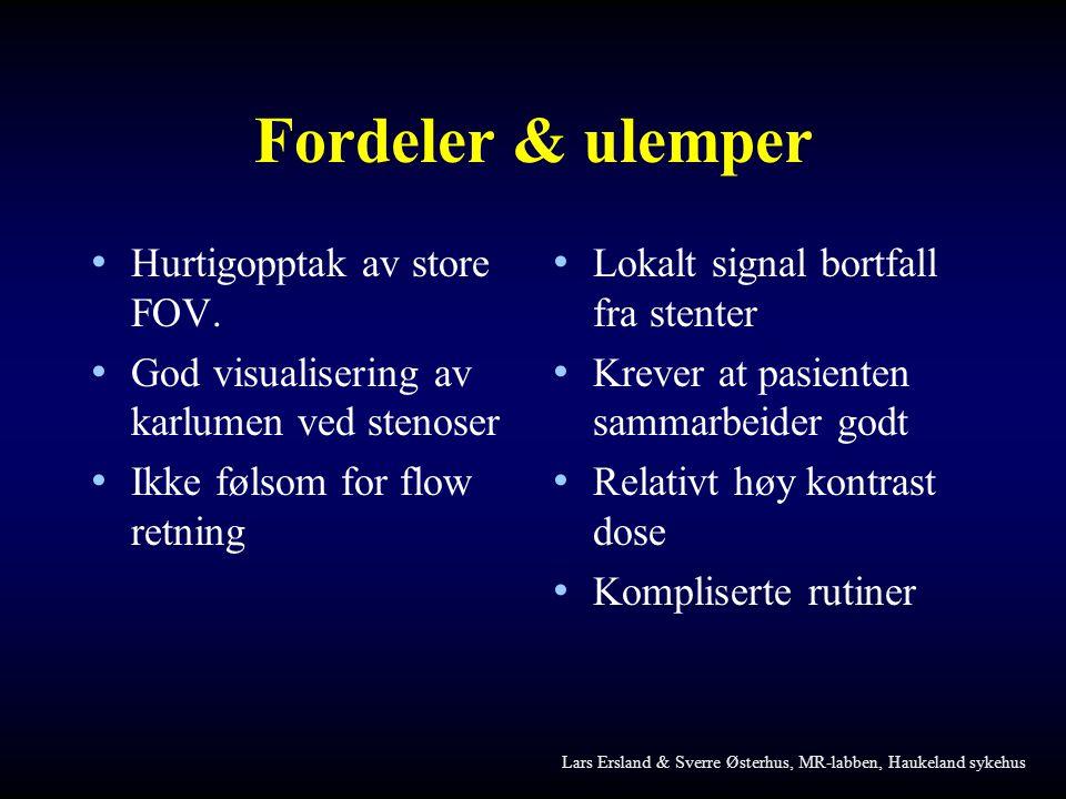 Fordeler & ulemper Hurtigopptak av store FOV.