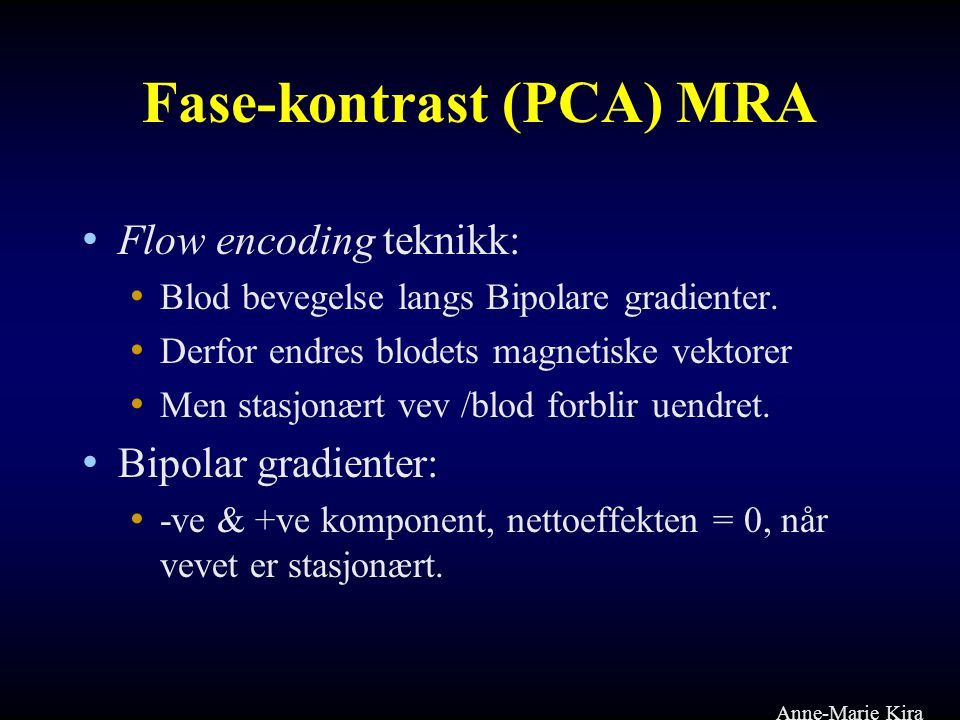 Fase-kontrast (PCA) MRA