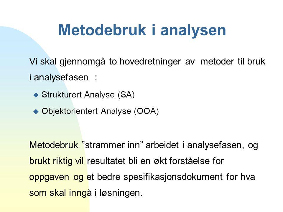 Metodebruk i analysen Vi skal gjennomgå to hovedretninger av metoder til bruk i analysefasen : Strukturert Analyse (SA)