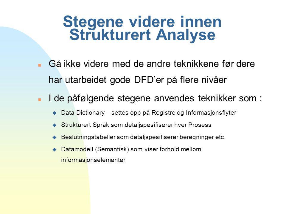 Stegene videre innen Strukturert Analyse
