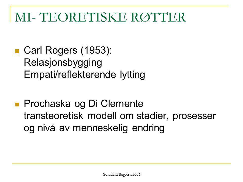 MI- TEORETISKE RØTTER Carl Rogers (1953): Relasjonsbygging Empati/reflekterende lytting.