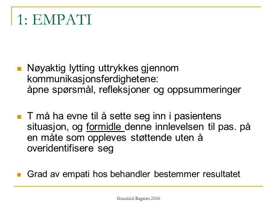 1: EMPATI Nøyaktig lytting uttrykkes gjennom kommunikasjonsferdighetene: åpne spørsmål, refleksjoner og oppsummeringer.