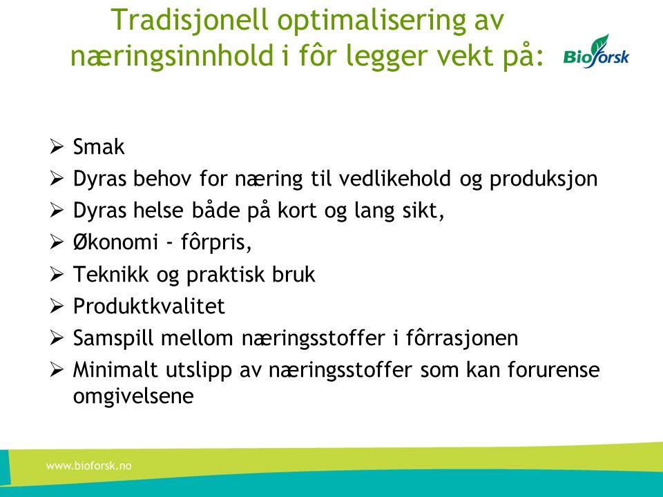 Tradisjonell optimalisering av næringsinnhold i fôr legger vekt på: