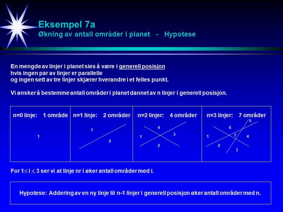 Eksempel 7a Økning av antall områder i planet - Hypotese