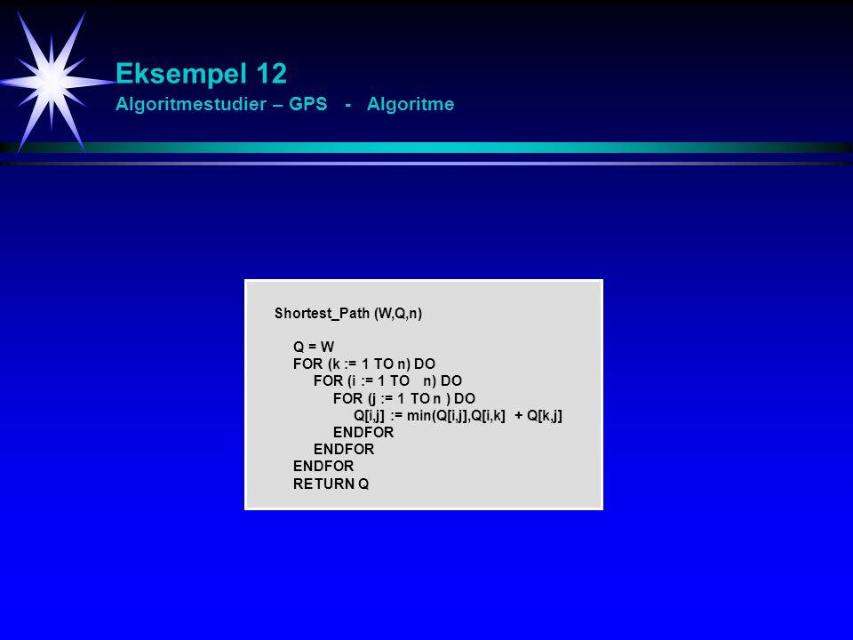 Eksempel 12 Algoritmestudier – GPS - Algoritme