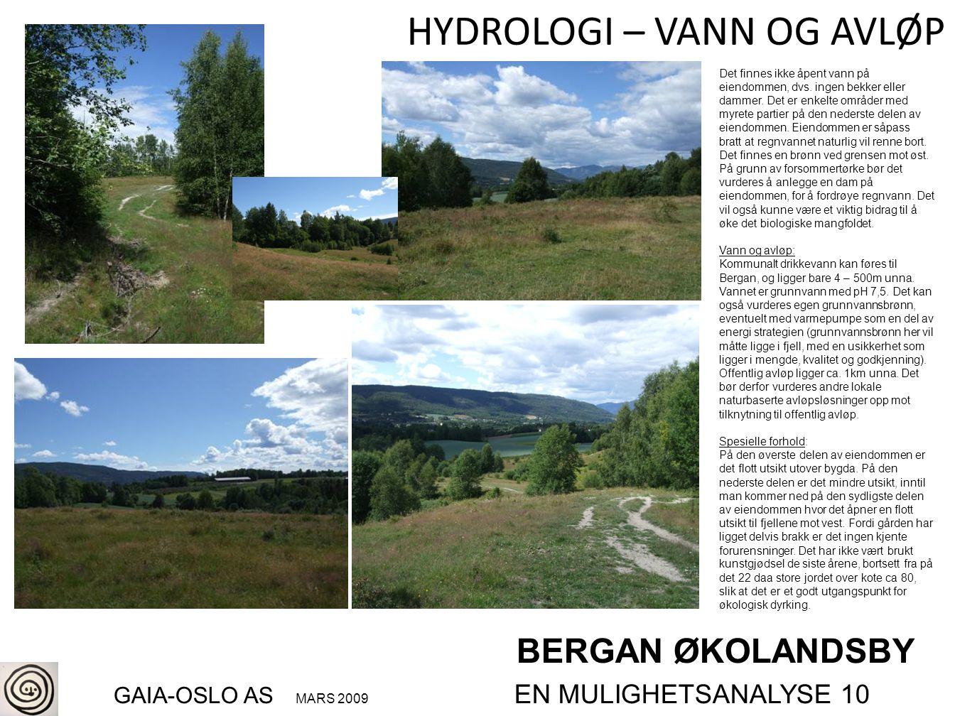 BERGAN ØKOLANDSBY GAIA-OSLO AS MARS 2009 EN MULIGHETSANALYSE 10