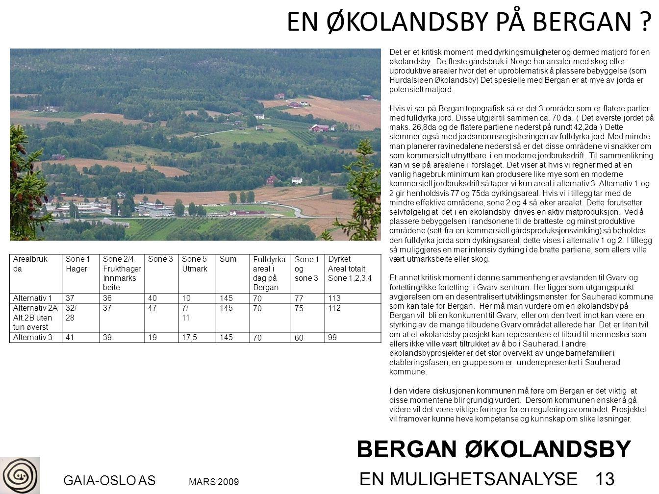 BERGAN ØKOLANDSBY GAIA-OSLO AS MARS 2009 EN MULIGHETSANALYSE 13