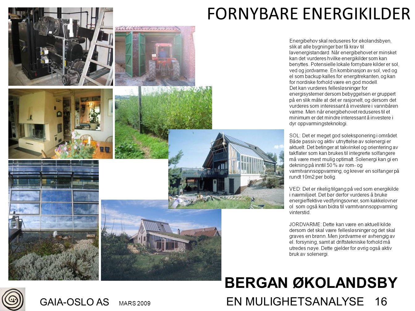 BERGAN ØKOLANDSBY GAIA-OSLO AS MARS 2009 EN MULIGHETSANALYSE 16