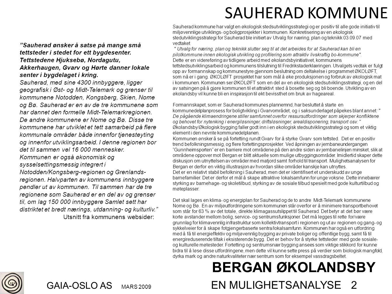 BERGAN ØKOLANDSBY GAIA-OSLO AS MARS 2009 EN MULIGHETSANALYSE 2
