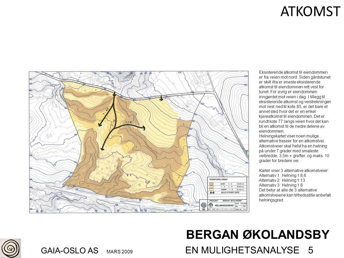 BERGAN ØKOLANDSBY GAIA-OSLO AS MARS 2009 EN MULIGHETSANALYSE 5