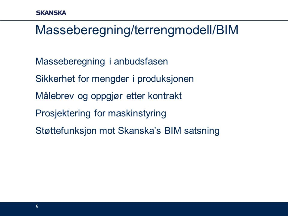 Masseberegning/terrengmodell/BIM