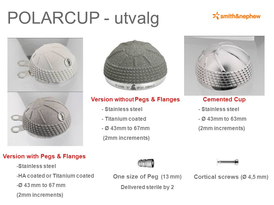 POLARCUP - utvalg Version no pegs no flanges : Titanium coated