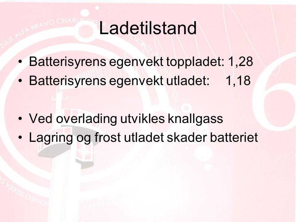 Ladetilstand Batterisyrens egenvekt toppladet: 1,28