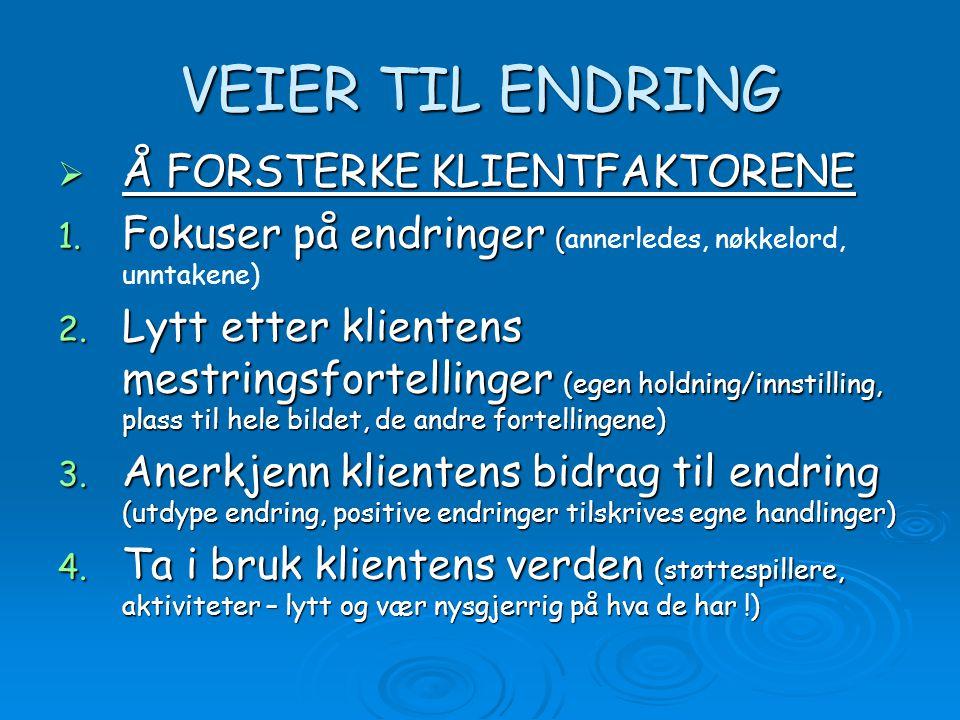 VEIER TIL ENDRING Å FORSTERKE KLIENTFAKTORENE
