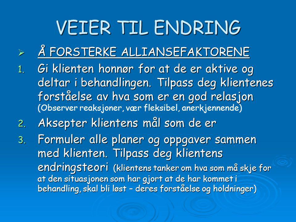 VEIER TIL ENDRING Å FORSTERKE ALLIANSEFAKTORENE
