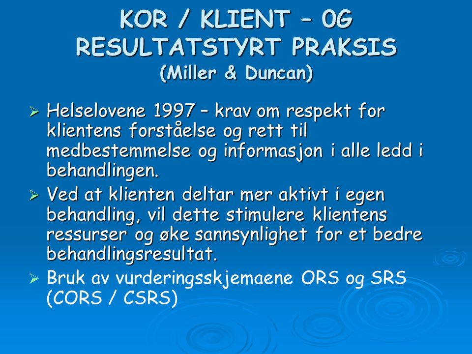 KOR / KLIENT – 0G RESULTATSTYRT PRAKSIS (Miller & Duncan)