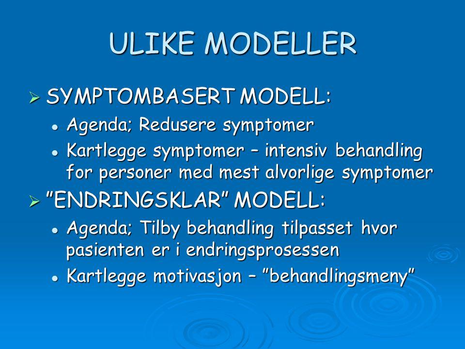 ULIKE MODELLER SYMPTOMBASERT MODELL: ENDRINGSKLAR MODELL: