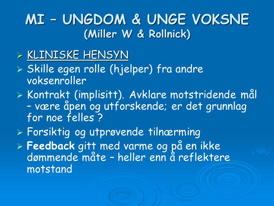 MI – UNGDOM & UNGE VOKSNE (Miller W & Rollnick)