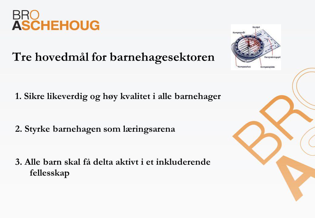 Tre hovedmål for barnehagesektoren