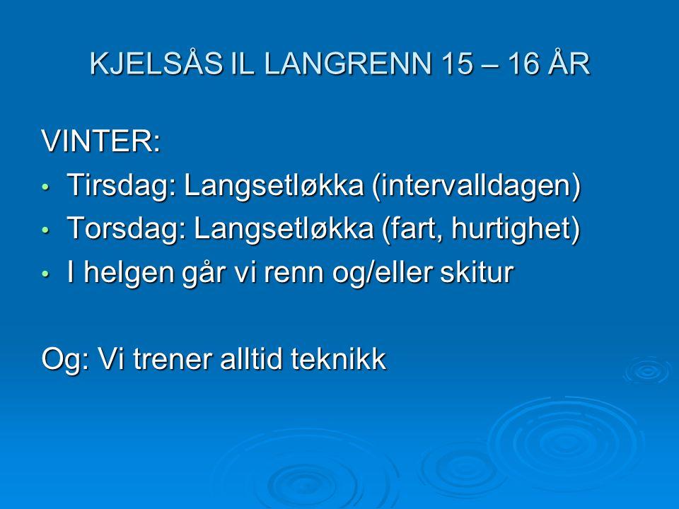 KJELSÅS IL LANGRENN 15 – 16 ÅR