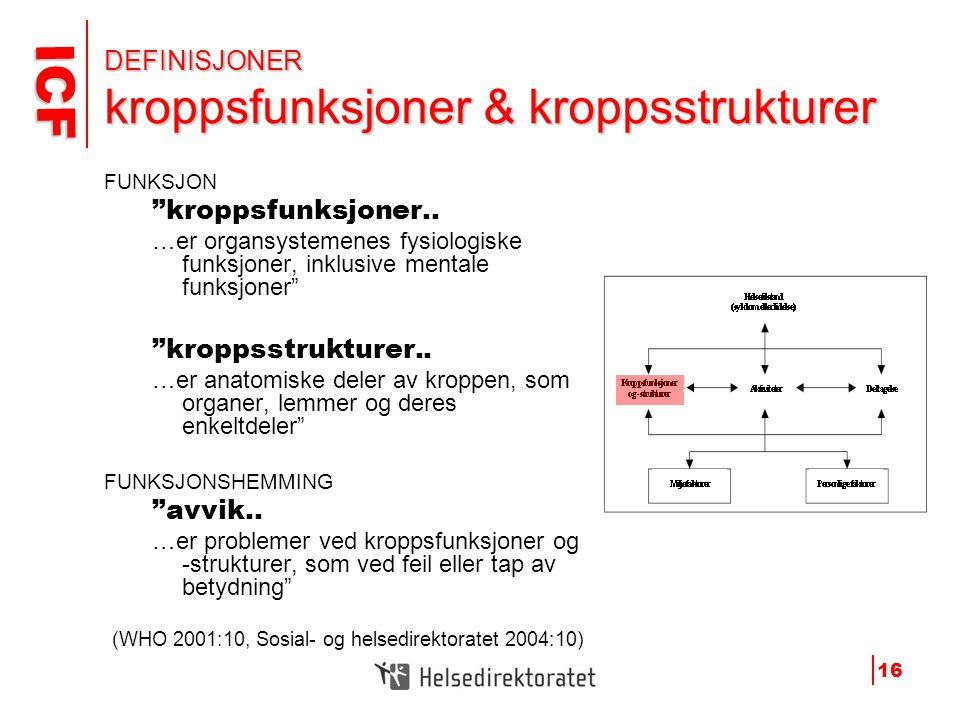 DEFINISJONER kroppsfunksjoner & kroppsstrukturer