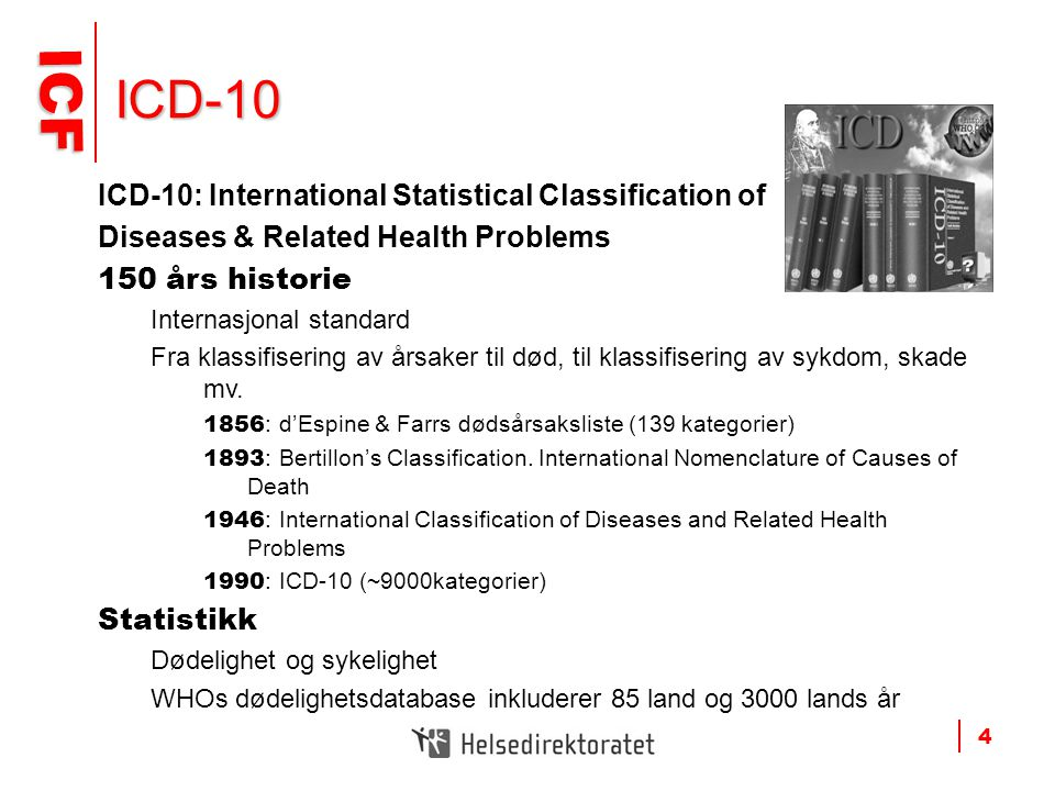 ICD-10 ICD-10: International Statistical Classification of