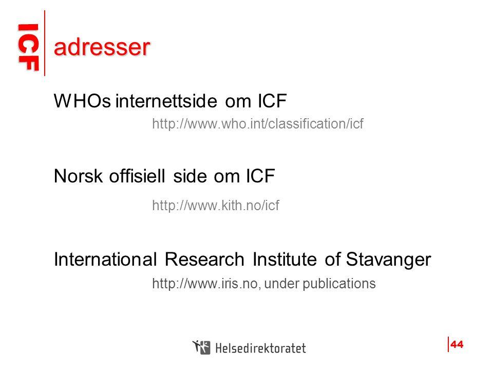 adresser WHOs internettside om ICF Norsk offisiell side om ICF