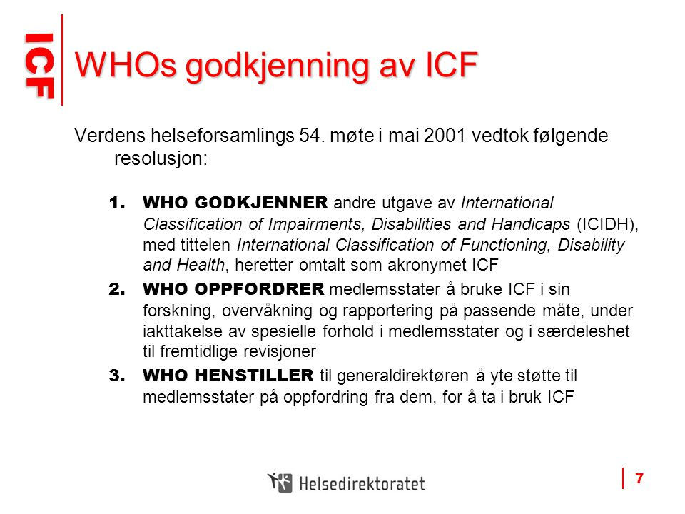 WHOs godkjenning av ICF