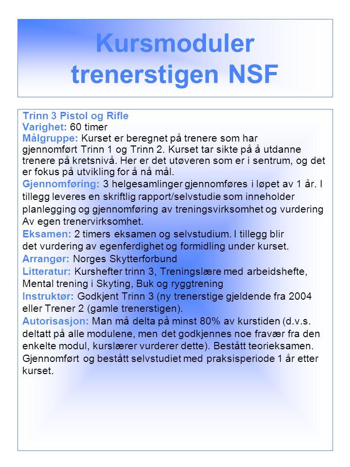 Kursmoduler trenerstigen NSF