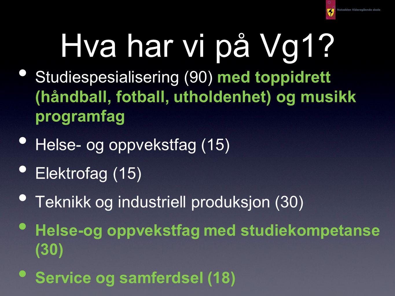 Hva har vi på Vg1 Studiespesialisering (90) med toppidrett (håndball, fotball, utholdenhet) og musikk programfag.