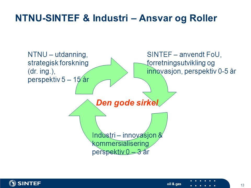 NTNU-SINTEF & Industri – Ansvar og Roller