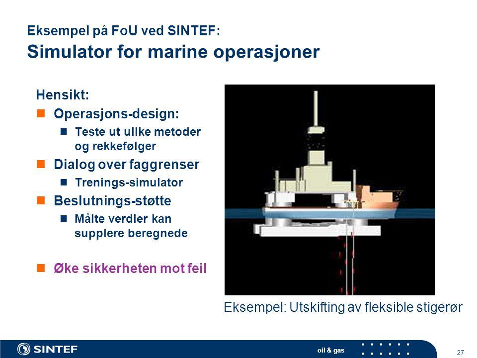 Eksempel på FoU ved SINTEF: Simulator for marine operasjoner