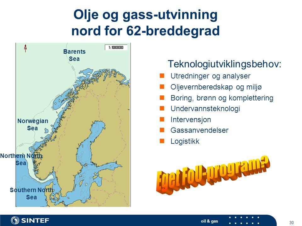 Olje og gass-utvinning nord for 62-breddegrad