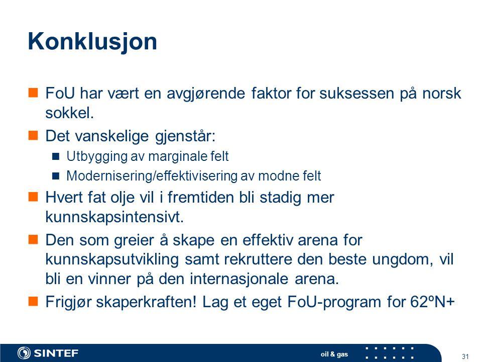 Konklusjon FoU har vært en avgjørende faktor for suksessen på norsk sokkel. Det vanskelige gjenstår: