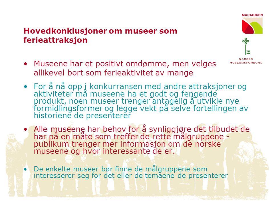 Hovedkonklusjoner om museer som ferieattraksjon