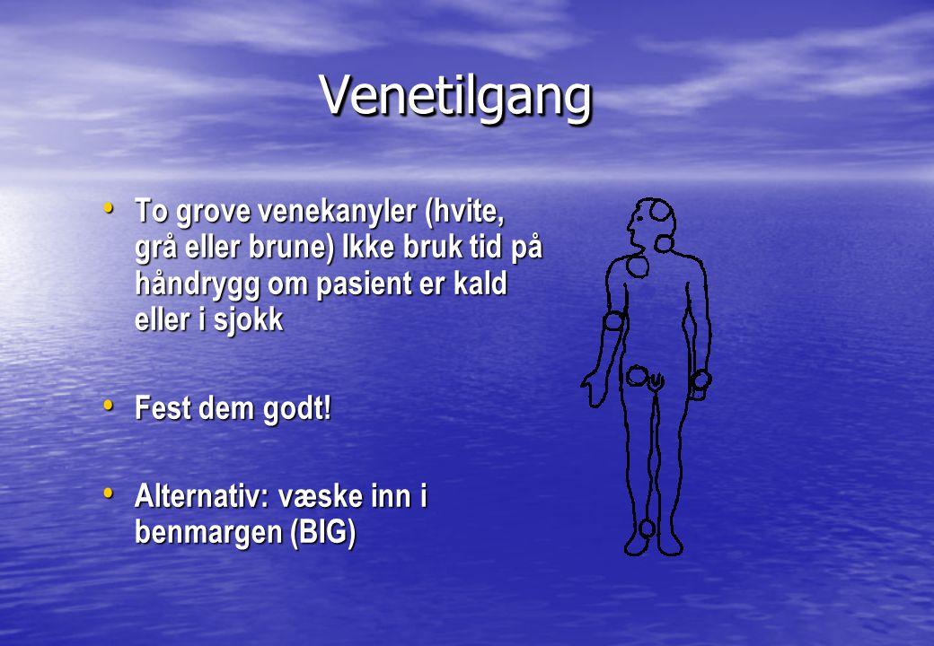 Venetilgang To grove venekanyler (hvite, grå eller brune) Ikke bruk tid på håndrygg om pasient er kald eller i sjokk.