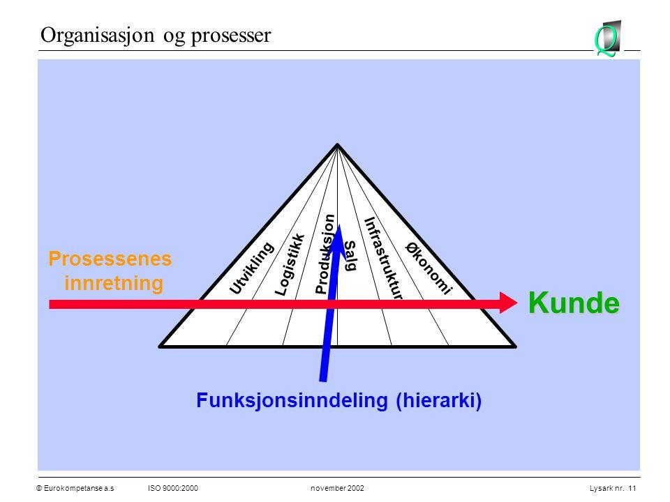 Kunde Organisasjon og prosesser Prosessenes innretning