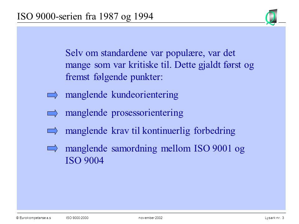 ISO 9000-serien fra 1987 og 1994 Selv om standardene var populære, var det mange som var kritiske til. Dette gjaldt først og fremst følgende punkter: